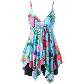 Plus Size Butterfly Print Handkerchief Tankini Set