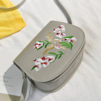 Flower Embroidered Flap Saddle Bag -  GRAY