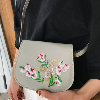 Flower Embroidered Flap Saddle Bag - GRAY GRAY