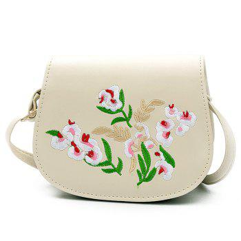 Flower Embroidered Flap Saddle Bag - OFF-WHITE OFF WHITE