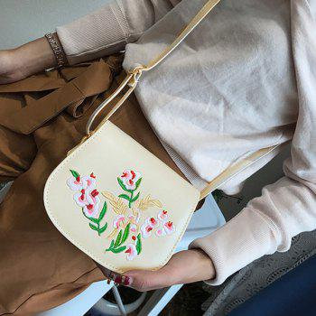 Flower Embroidered Flap Saddle Bag -  OFF WHITE