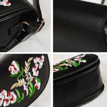 Flower Embroidered Flap Saddle Bag -  BLACK