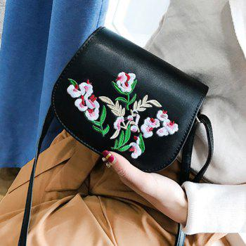 Flower Embroidered Flap Saddle Bag - BLACK BLACK