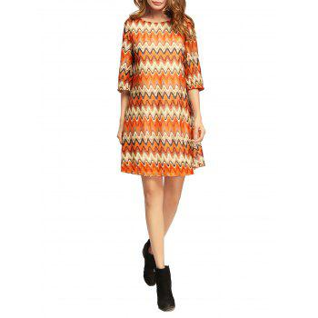Shift Dress with Wave Stripe Print - COLORMIX XL