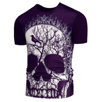 Short Sleeves 3D Skull Printed T-shirt - PURPLE M