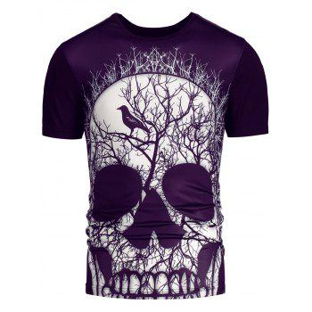 Short Sleeves 3D Skull Printed T-shirt - M M