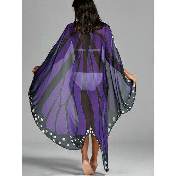 Butterfly Wing Print Beach Cover Up - Violet Clair ONE SIZE