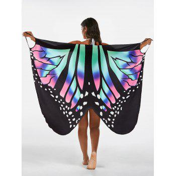 Butterfly Print Beach Wrap Cover Up Dress - COLORMIX COLORMIX