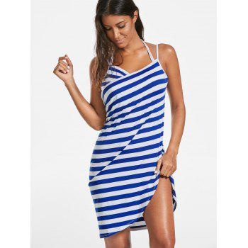 Striped Open Back Multiway Wrap Cover-ups Dress - BLUE XL