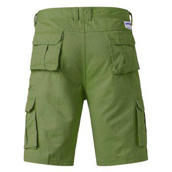 Zip Up Pockets Straight Leg Applique Cargo Shorts - ARMY GREEN 38