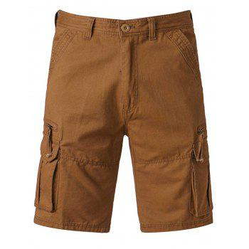 Zip Up Pockets Straight Leg Applique Cargo Shorts - EARTHY 40
