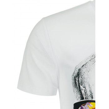 Flowers and Skull Printed Crew Neck T-shirt - WHITE XL