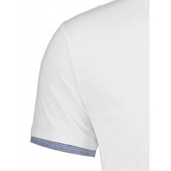 Color Splicing Short Sleeve T-shirt - WHITE 2XL