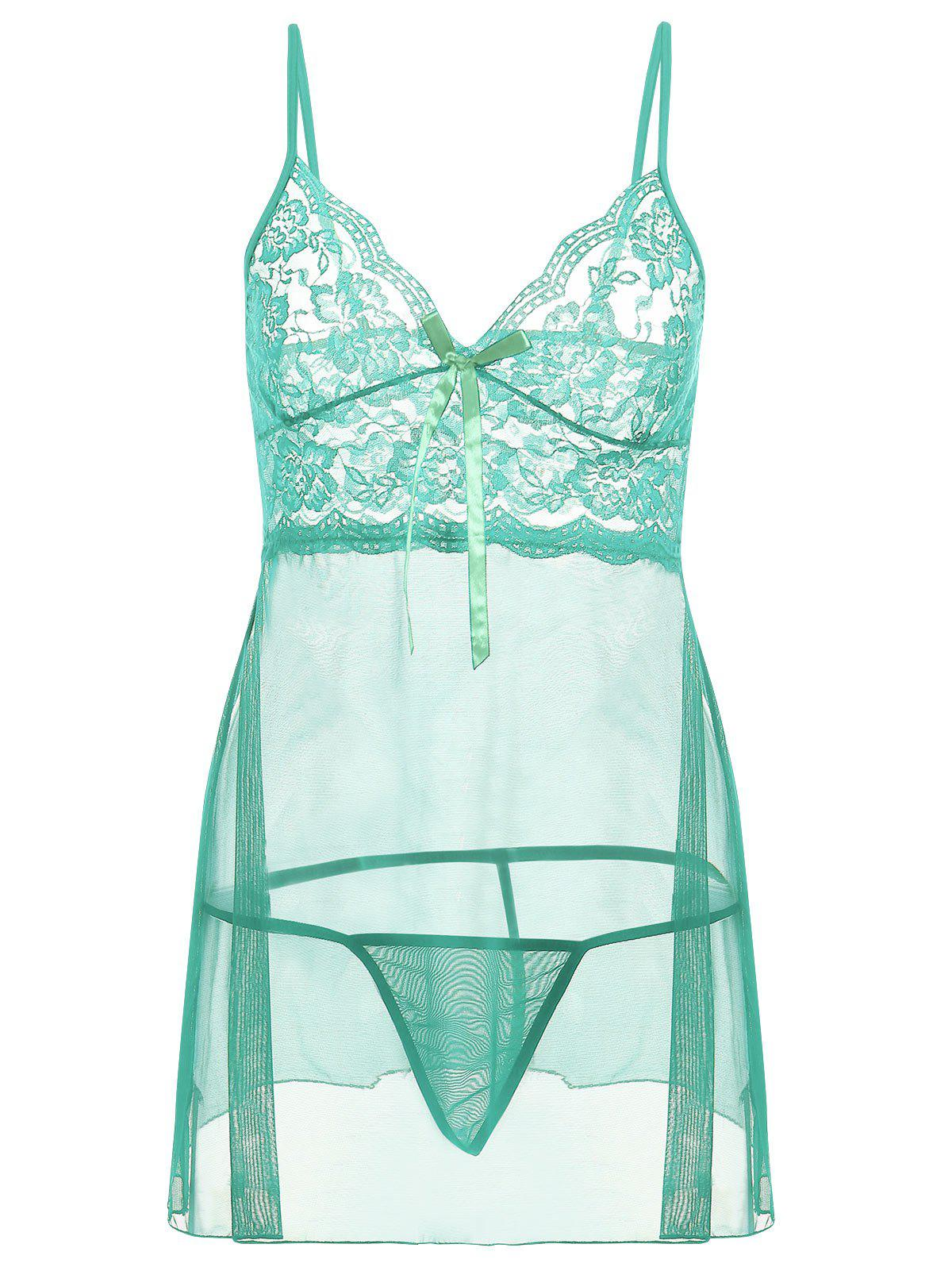 Robe de Nuit Transparente  avec Mailles en Slip - LIGHT GREEN 4XL