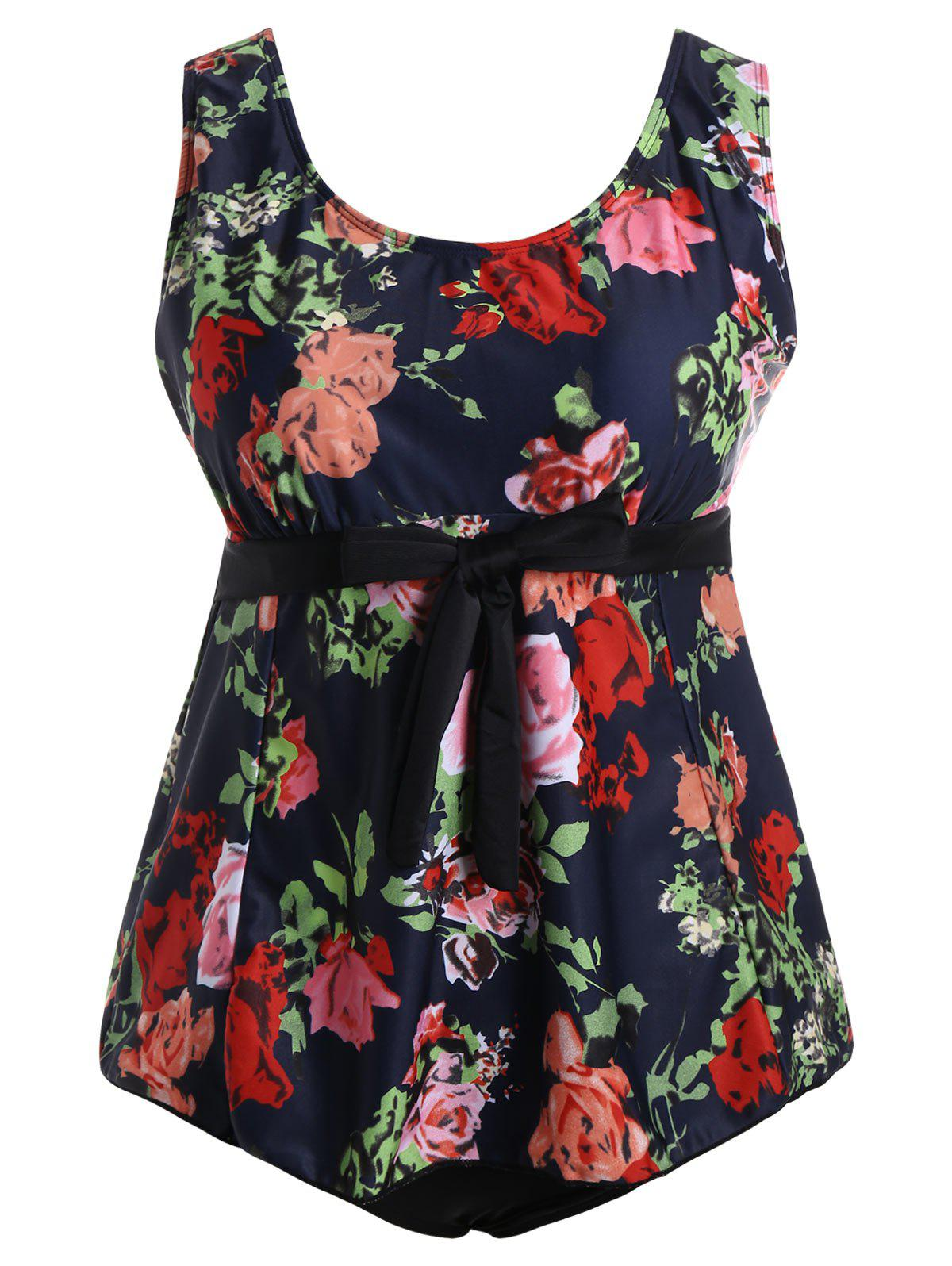 Padded Floral High Waisted Plus Size Bathing Suit - multicolor 3XL