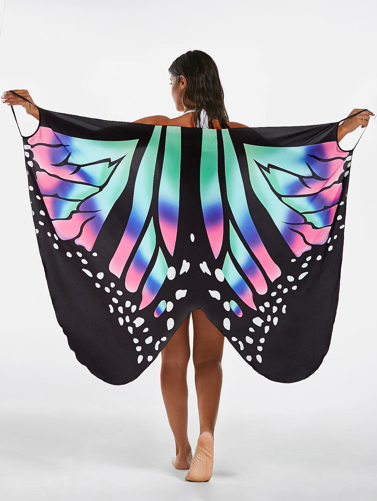 Butterfly Print Beach Wrap Cover Up Dress - COLORMIX M