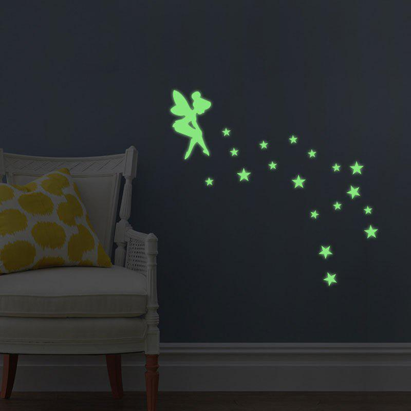 Fluorescence Creative Fairy Star Luminous Switch Wall Stick - NEON GREEN