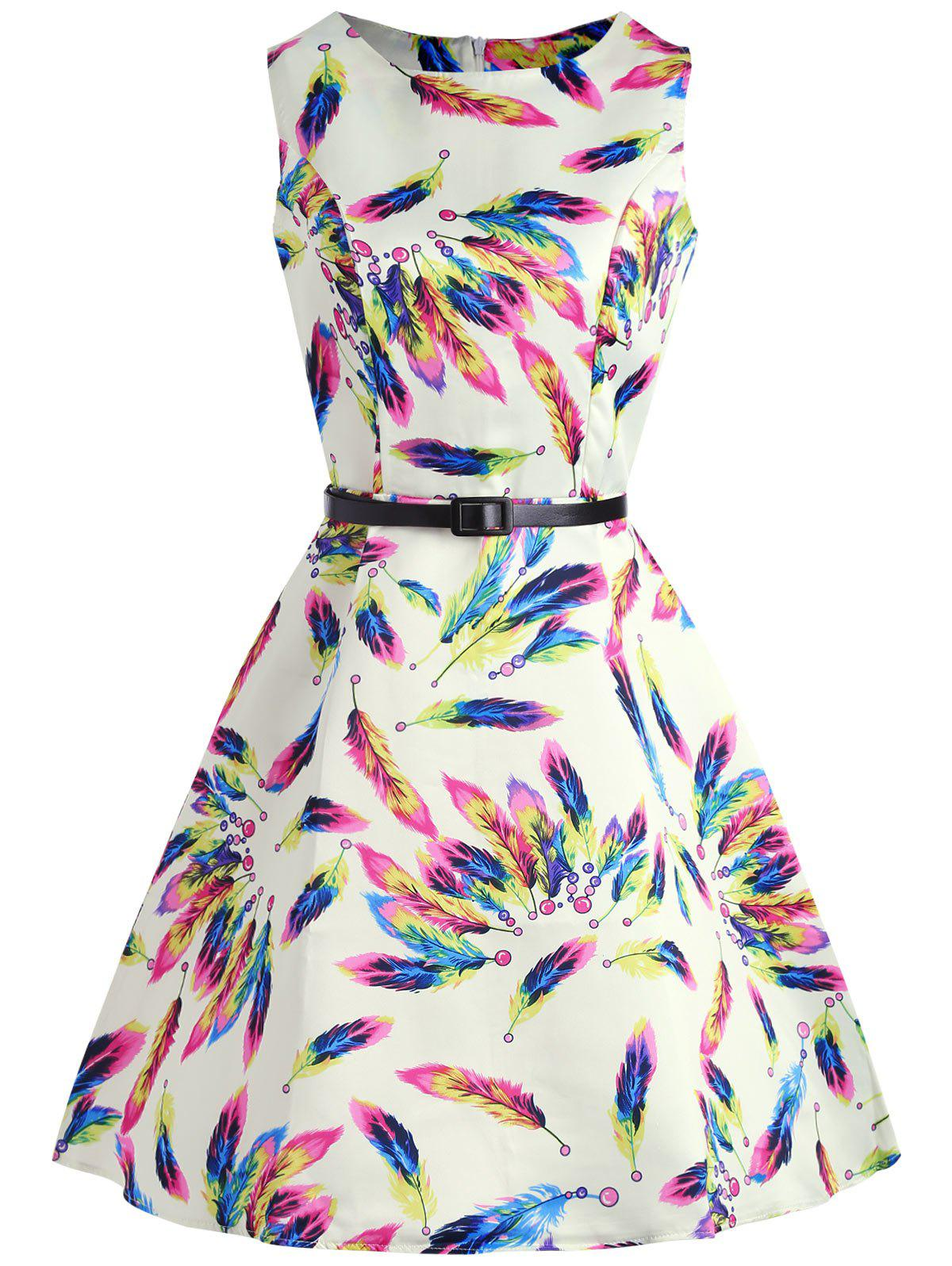 Colorful Feather Print Sleeveless Dress colorful diamonds print sleeveless dress