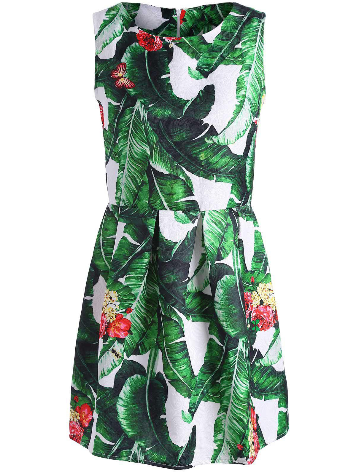 Palm Leaf Print Mini Sleeveless Dress adriatica часы adriatica 3638 1173q коллекция zirconia