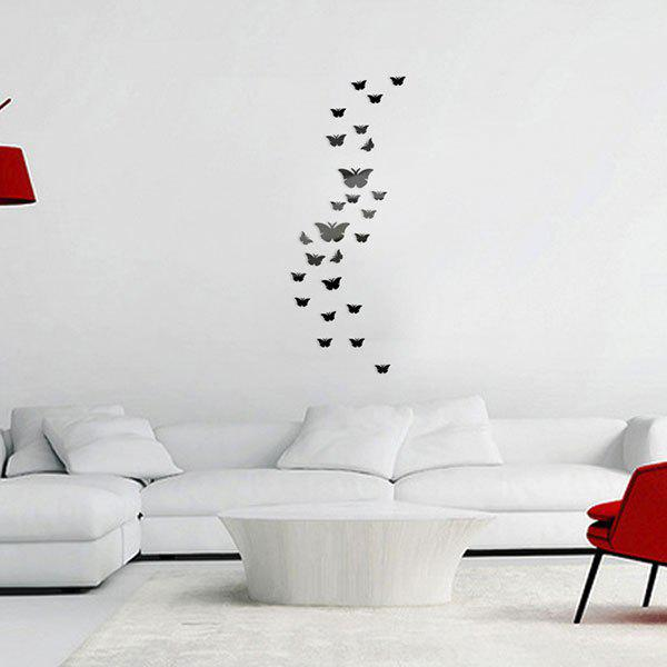 25 PCS Butterflies Decorative Removable Mirror Wall Decals   BLACK