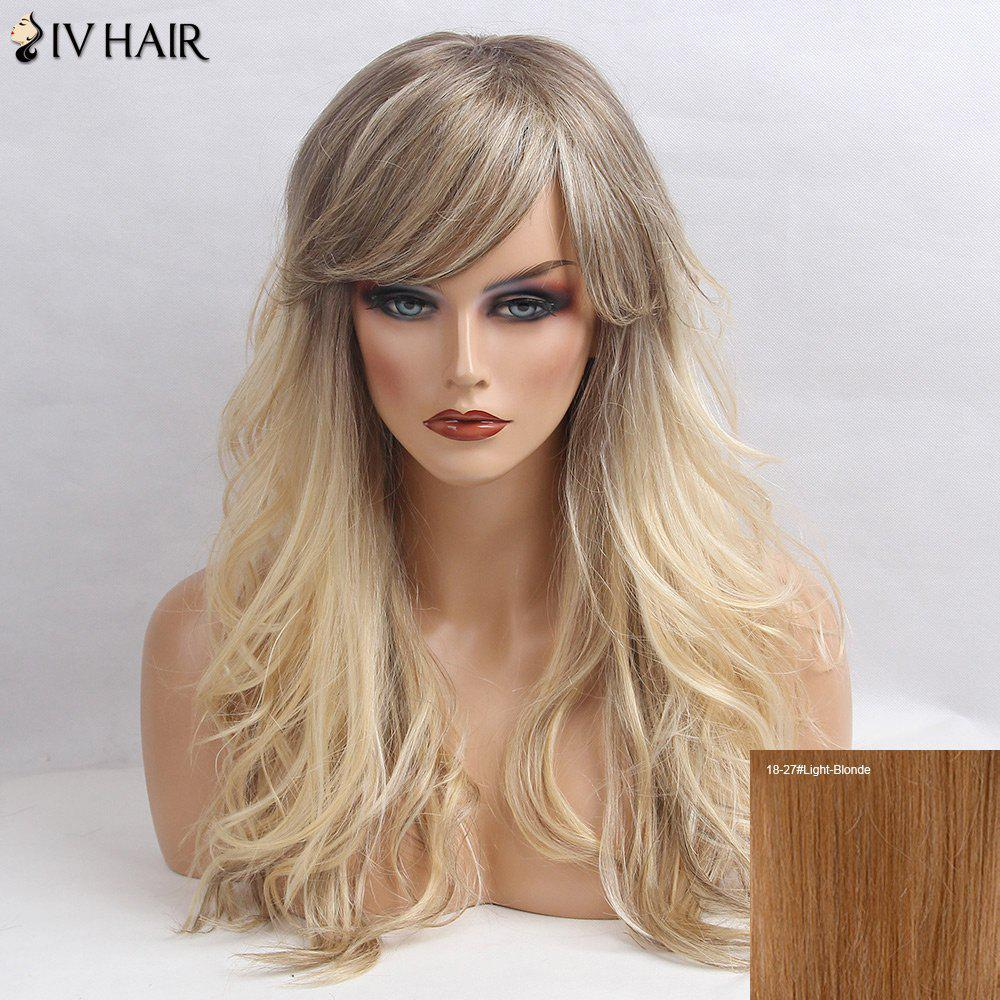 Siv Hair Side Bang Shaggy Long Wavy Colormix Human Hair Wig - LIGHT BLONDE /