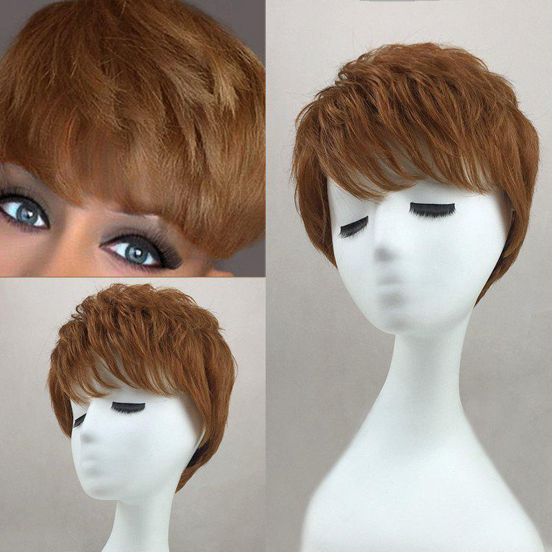 Side Bang Layered Short Slightly Curly Human Hair Wig - AUBURN BROWN