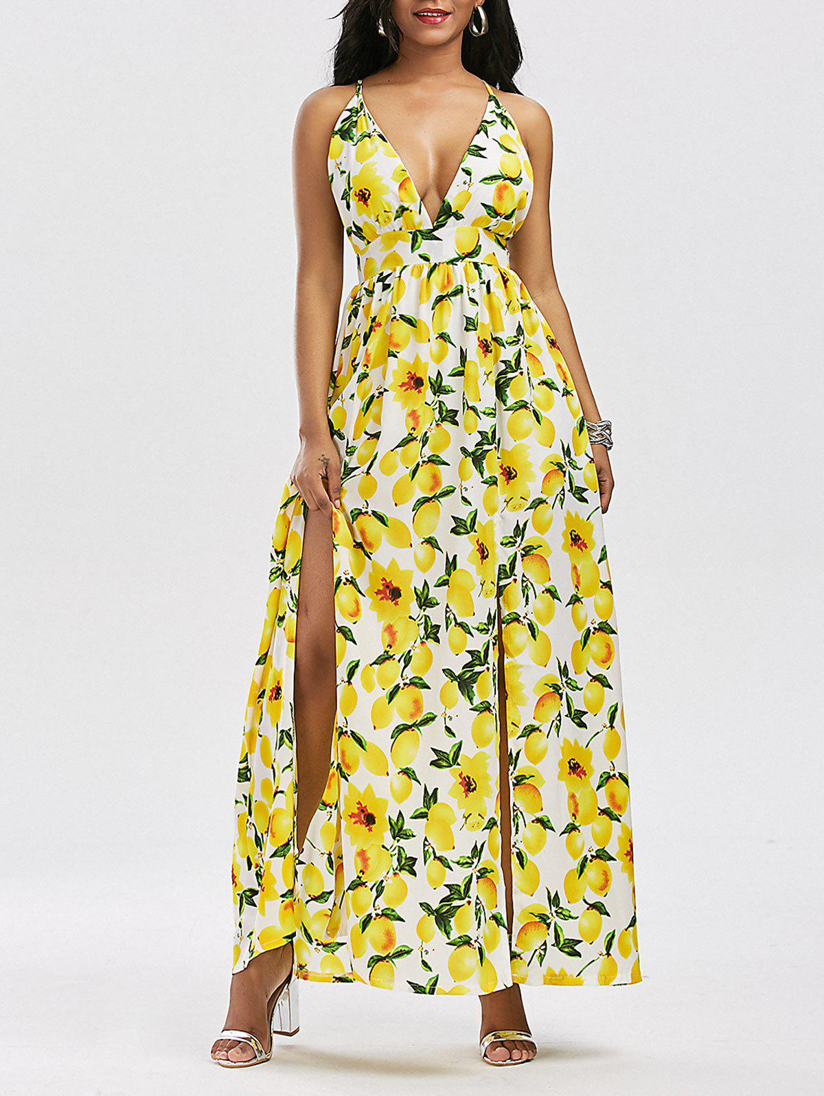 Lemon Print Split Backless Cami Maxi Dress - YELLOW S