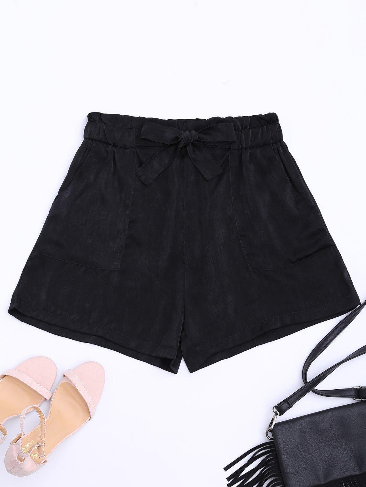 Self Tie Casual Shorts - BLACK S