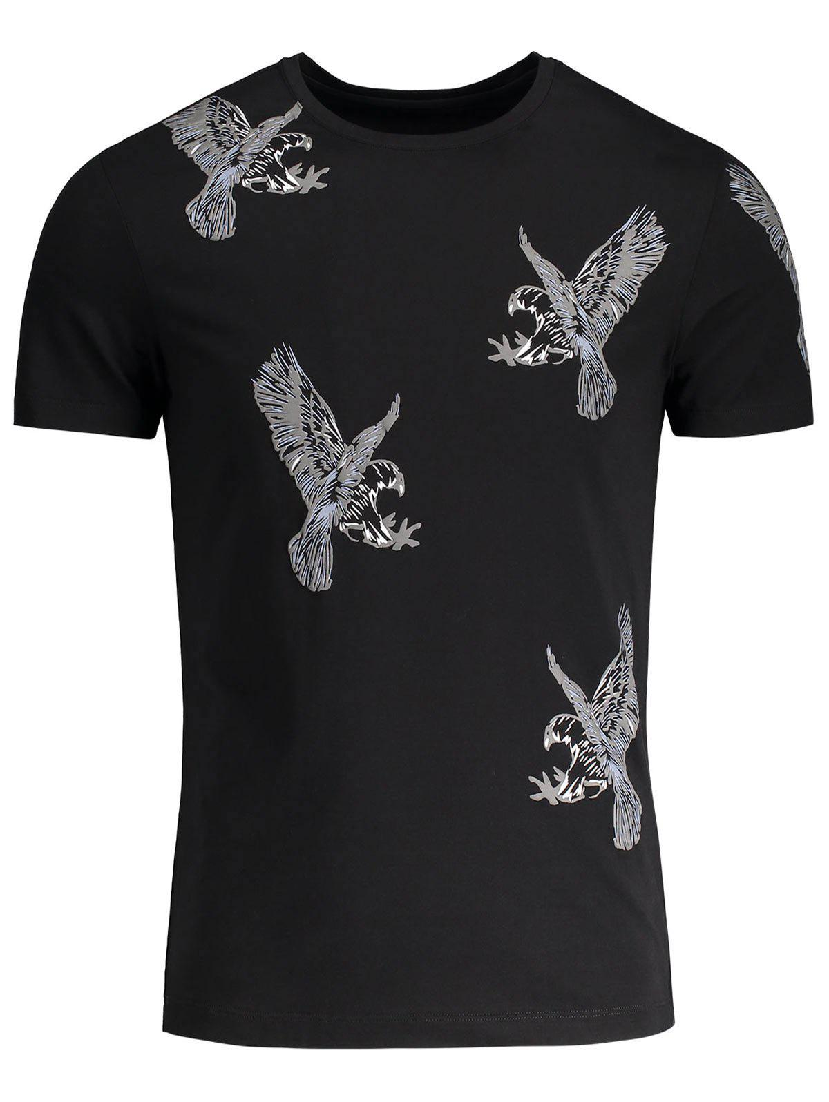Eagle Pattern Crew Neck Tee - BLACK M