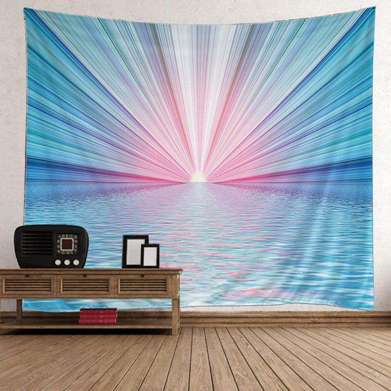 Sun Rise Sea Print Wall Hanging Tapestry - LAKE BLUE 200*150CM