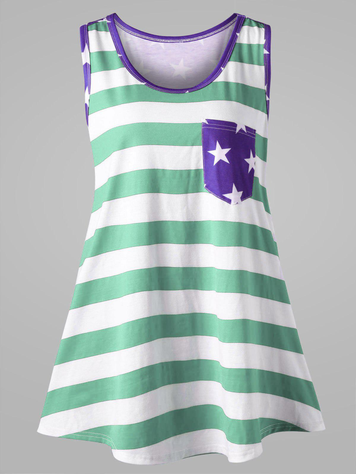 Grand format American Flag Bowknot Embellished Tank Top - Menthe XL