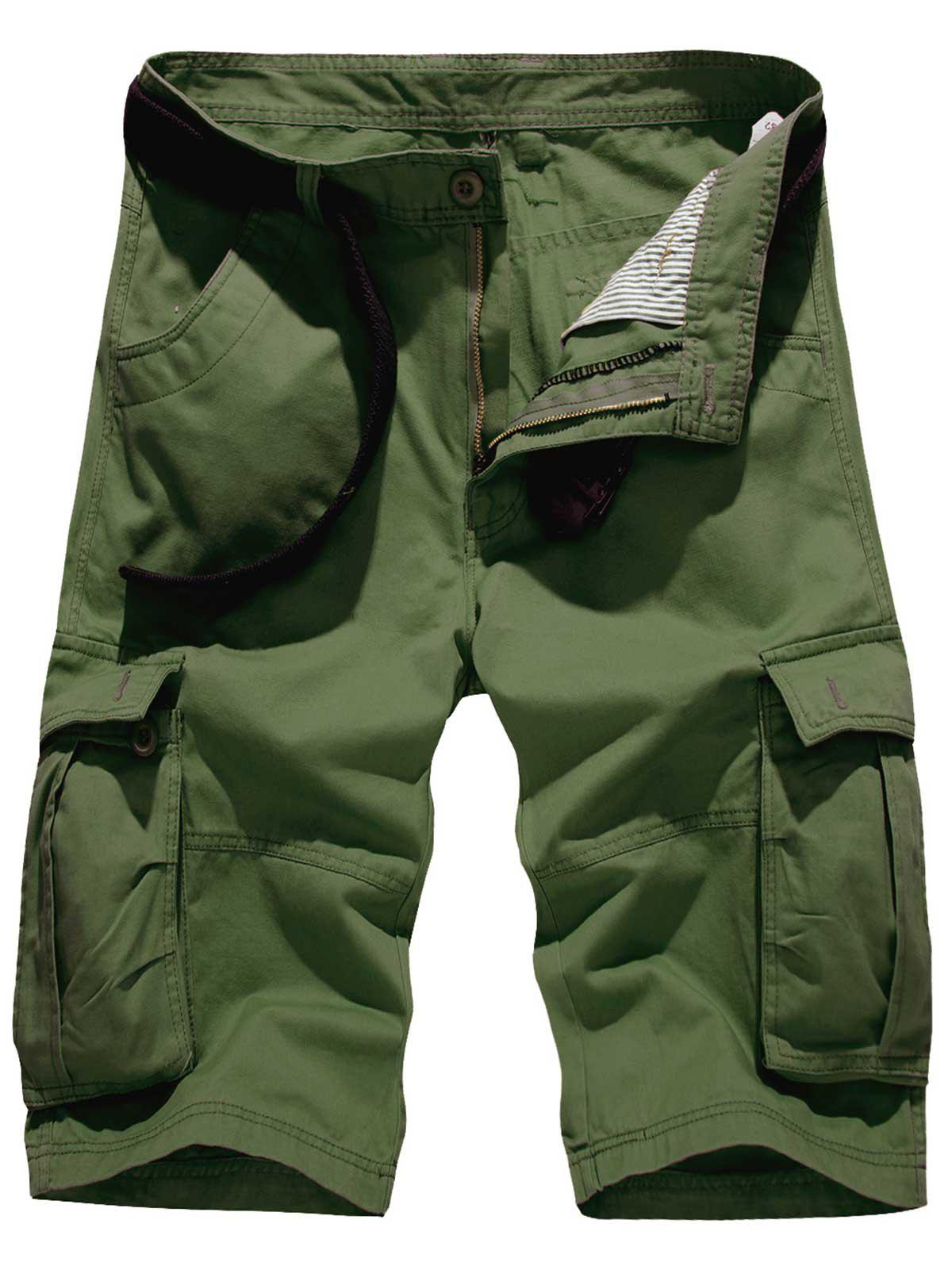 Pockets Embellished Zipper Fly Cargo Shorts - ARMY GREEN 34