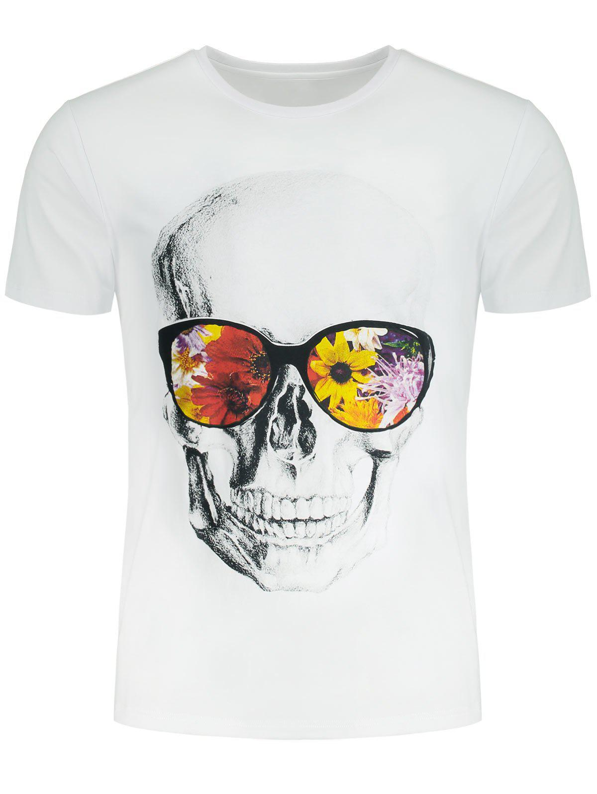 Flowers and Skull Printed Crew Neck T-shirt kinston flowers