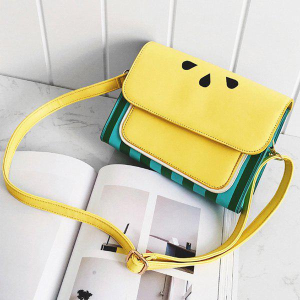 Flap Watermelon Print Crossbody Bag - YELLOW