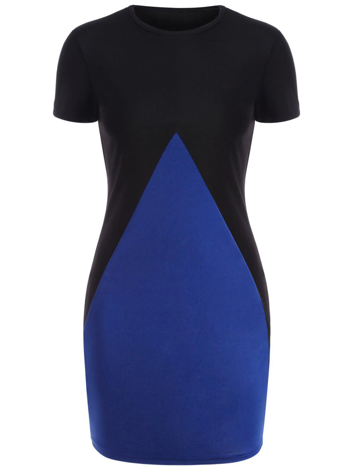 Two Tone Fitted Mini Dress - BLUE M