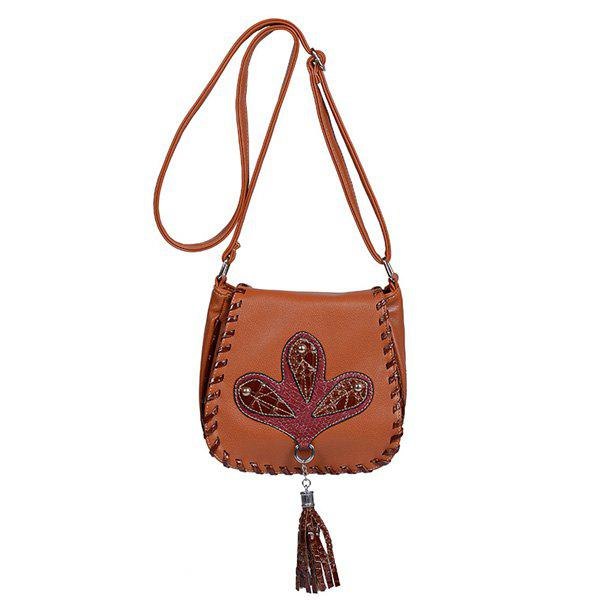 Ethnic Whipstitch Tassel Crossbody Bag - LIGHT BROWN