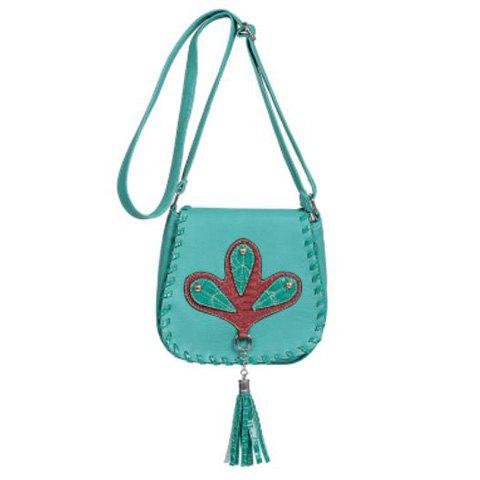 Ethnic Whipstitch Tassel Crossbody Bag - LAKE BLUE