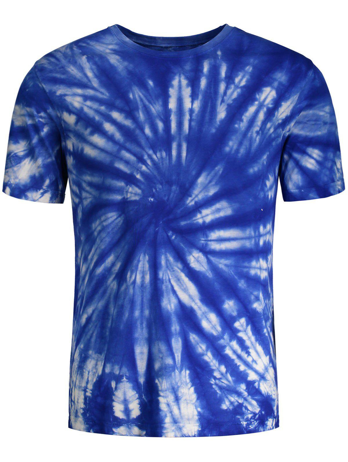 Tie dye printed short sleeves t shirt blue m in t shirts for Tie dye t shirt printing