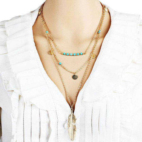 Layered Faux Turquoise Disc Feather Necklace - GOLDEN