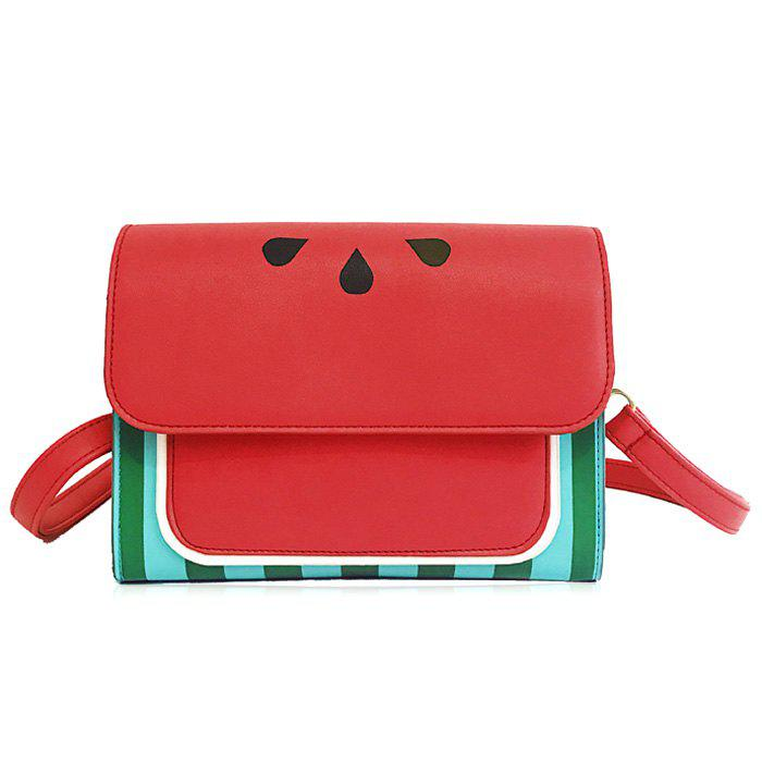 Flap Watermelon Print Crossbody Bag - RED