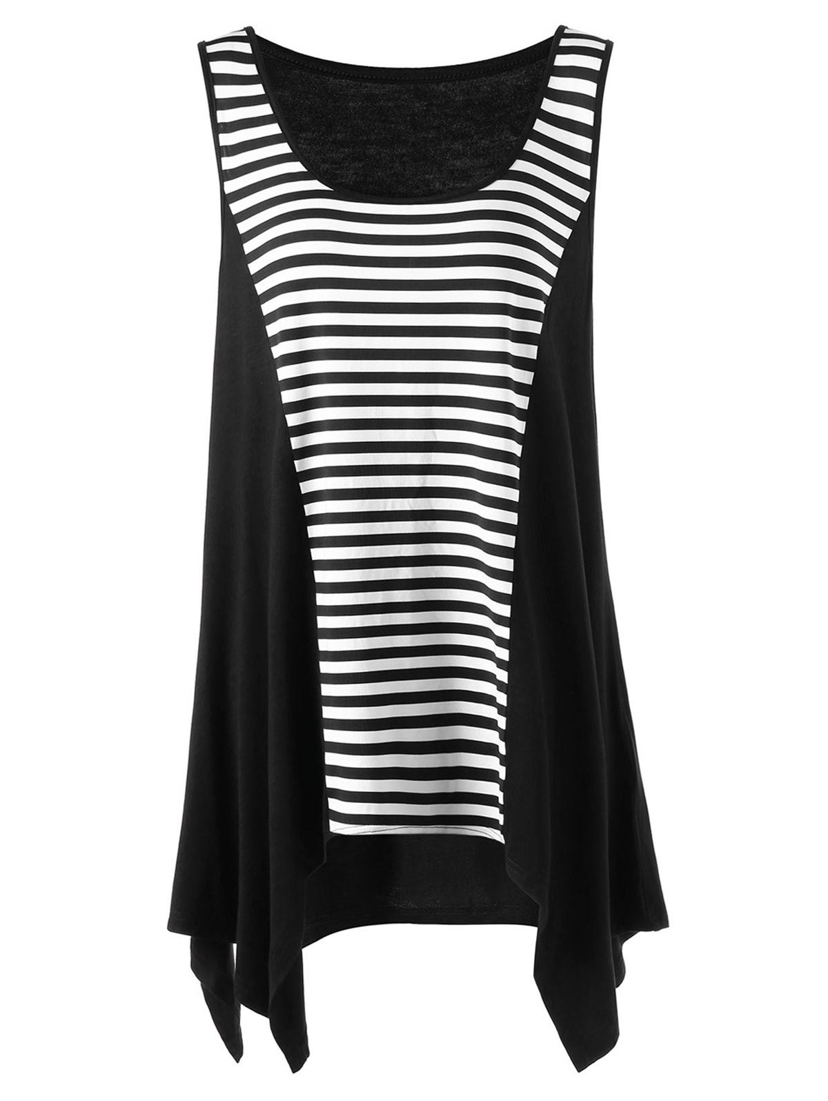 Striped Color Block Plus Size Asymmetric Top - BLACK WHITE 2XL