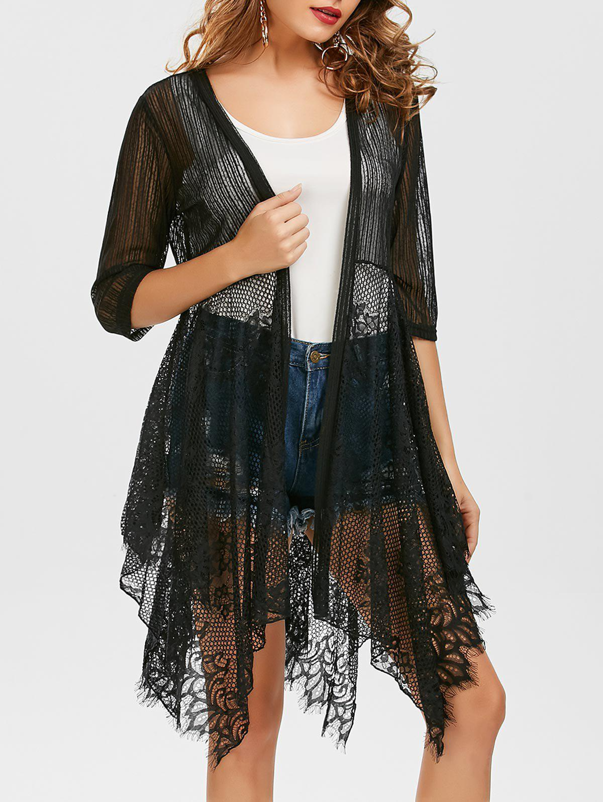 Lace Insert See Through Asymmetrical Kimono - BLACK L