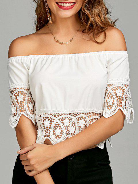 d6b235ba1f1ca5 41% OFF  2019 Crochet Lace Panel Off The Shoulder Blouse In WHITE L ...