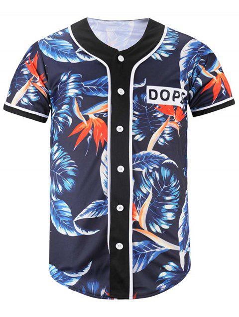 Button Up Leaf Print Baseball Jersey - CADETBLUE L
