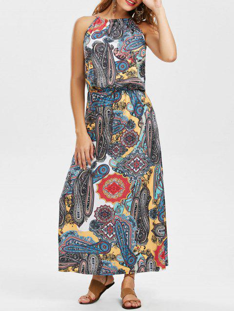 Print Sleeveless Mock Neck Bohemian Dress - COLORMIX S