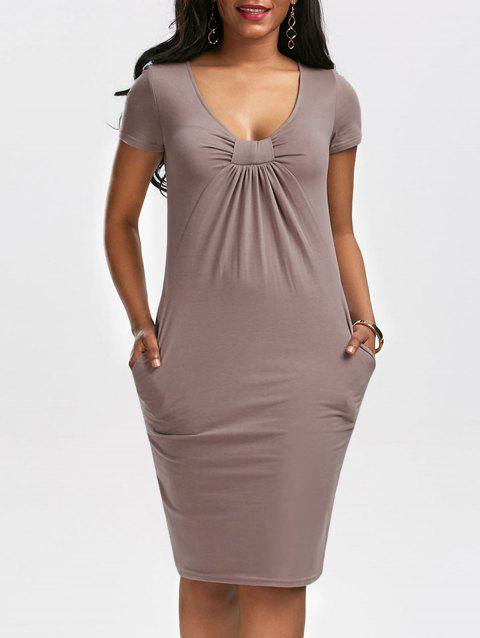 Low Cut Ruched Dress with Pockets - COFFEE S
