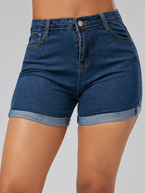 High Waisted Denim Skinny Mini Shorts - BLUE XL