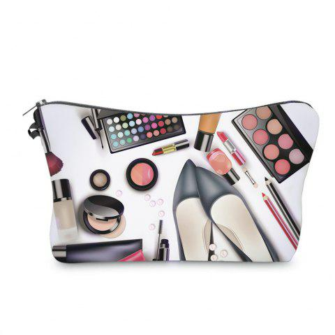 3D Cosmetics Print Makeup Clutch Bag - BLACK