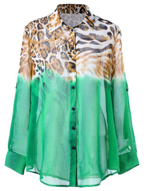 76f2d010664 LIMITED OFFER  2019 Ombre Leopard Plus Size Shirt In GREEN XL ...
