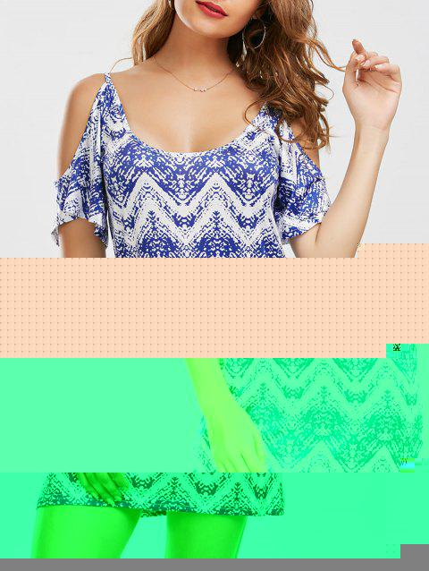 Cold Shoulder Zig Zag Mini Dress - BLUE S